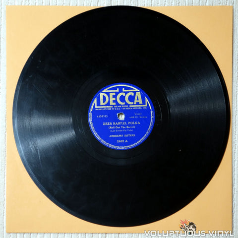 "Andrews Sisters, The – Beer Barrel Polka (Roll Out The Barrel) / Well All Right (1939) 10"" Shellac"