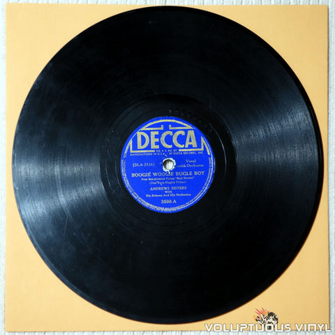"Andrews Sisters, The ‎– Boogie Woogie Bugle Boy / Bounce Me Brother With A Solid Four (1941) 10"" Shellac"