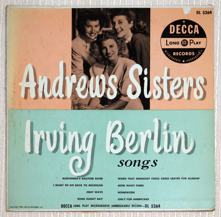 "The Andrews Sisters Irving Berlin Songs 10"" Vinyl Record Front Cover"