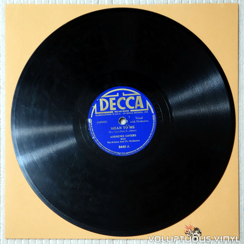"Andrews Sisters, The ‎– Mean To Me / Sweet Molly Malone (1940) 10"" Shellac"