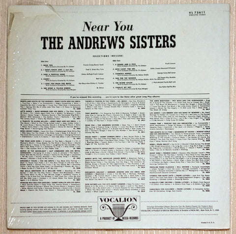 The Andrews Sisters ‎Near You Vinyl Record Back Cover