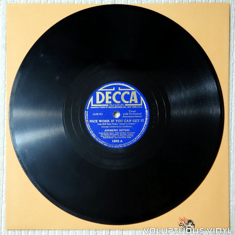 "Andrews Sisters, The – Nice Work If You Can Get It / Bei Mir Bist Du Schon (1937) 10"" Shellac"