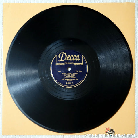 "Andrews Sisters, The / Russ Morgan ‎– Now! Now! Now! Is The Time / Oh, You Sweet One (1949) 10"" Shellac, Canadian Press"