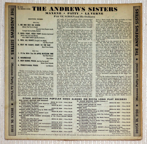 "The Andrews Sisters 10"" Debut Album Vinyl Record Back Cover"