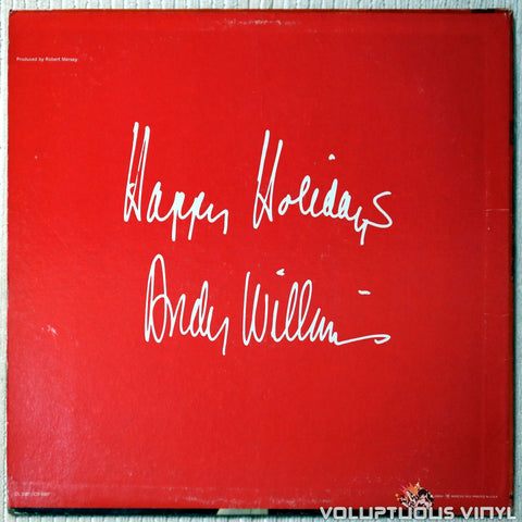 Andy Williams ‎– The Andy Williams Christmas Album vinyl record back cover