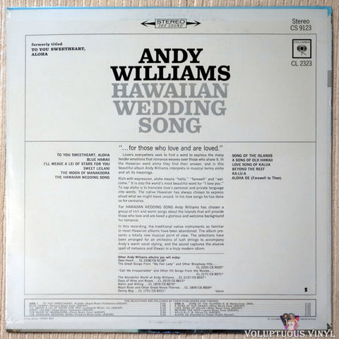 Andy Williams ‎– Hawaiian Wedding Song vinyl record back cover