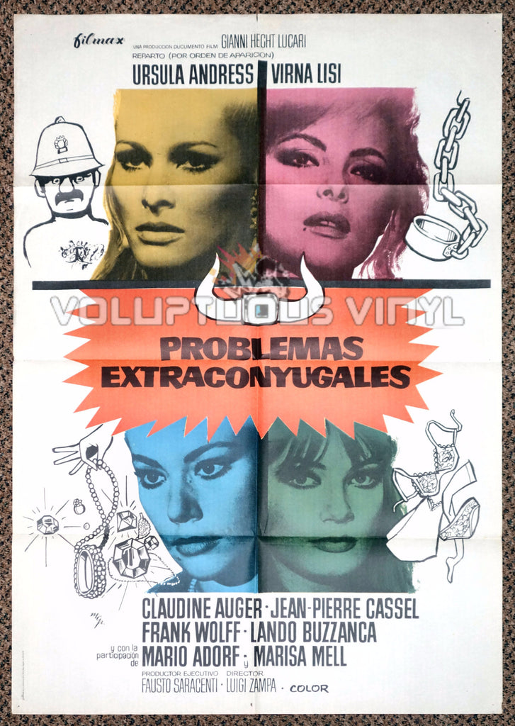 Anyone Can Play 1975 Spanish 1 Sheet Movie Poster for Italian Comedy with Marisa Mell, Ursula Andress, Virna Lisi & Claudine Auger