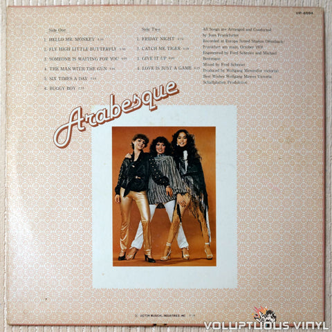Arabesque ‎– Arabesque vinyl record back cover