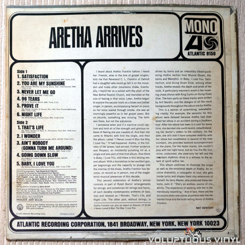 Aretha Franklin ‎– Aretha Arrives - Vinyl Record - Back Cover