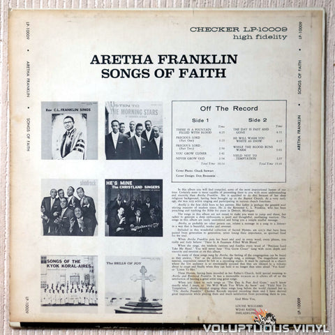 Aretha Franklin ‎– Songs Of Faith - Vinyl Record - Back Cover