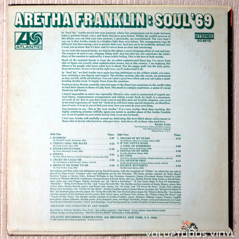 Aretha Franklin ‎– Soul '69 - Vinyl Record - Back Cover
