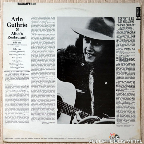 Arlo Guthrie ‎– Alice's Restaurant - Vinyl Record - Back Cover