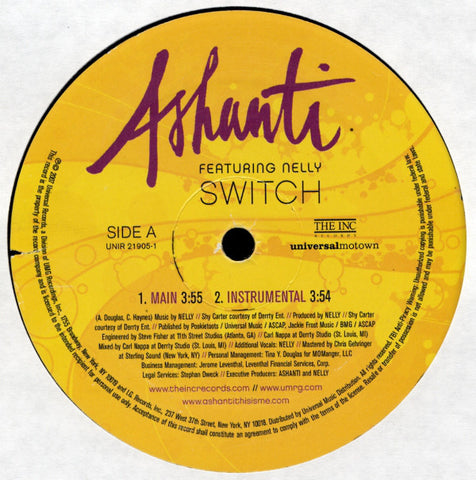 "Ashanti Featuring Nelly ‎– Switch (2007) 12"" Single"