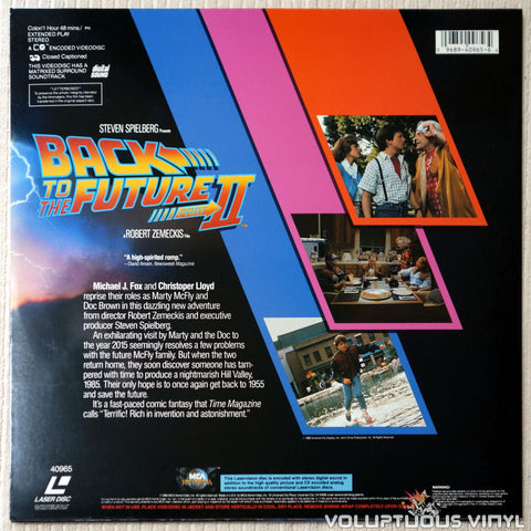 Back To The Future Part II - LaserDisc - Back Cover