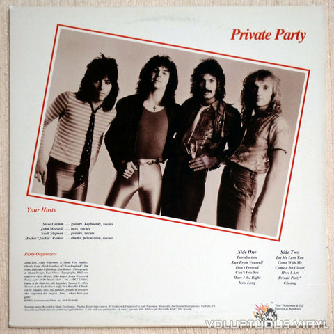 Bad Boy ‎Private Party Vinyl Record Back Cover
