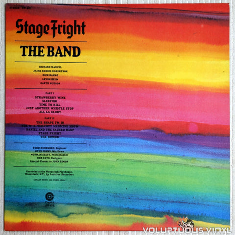The Band ‎– Stage Fright - Vinyl Record - Front Cover