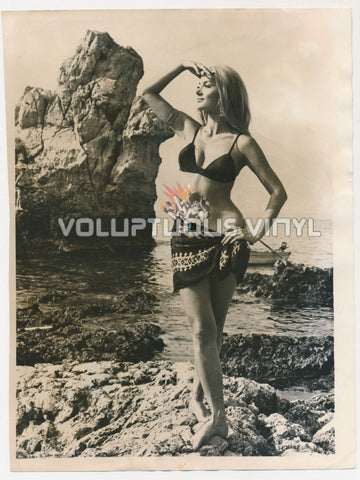Barbara Bouchet In Bikini At Taormina Film Festival 1969