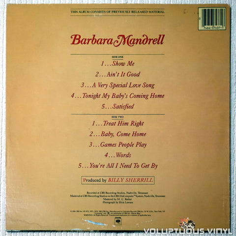 Barbara Mandrell ‎– Looking Back - Vinyl Record - Back Cover