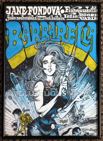 Barbarella 1971 Czech Republic Poster Sexy Sci-Fi Jane Fonda Art Framed
