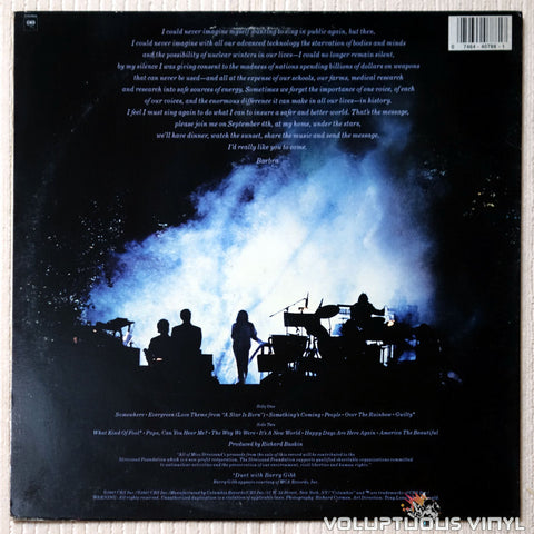 Barbra Streisand ‎– One Voice - Vinyl Record - Back Cover