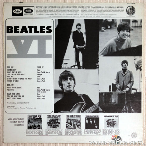 The Beatles ‎– Beatles VI - Vinyl Record - Back Cover