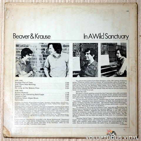 Beaver & Krause ‎– In A Wild Sanctuary - Vinyl Record - Back Cover