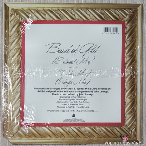 "Belinda Carlisle Featuring Freda Payne ‎– Band Of Gold (1986) 12"" Single, Gold Vinyl SEALED"