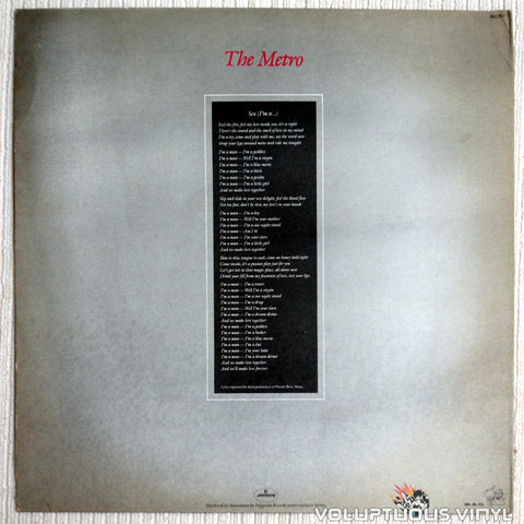 Berlin ‎– Sex (I'm A...) - Vinyl Record - Back Cover