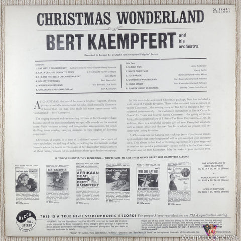 Bert Kaempfert And His Orchestra ‎– Christmas Wonderland vinyl record back cover