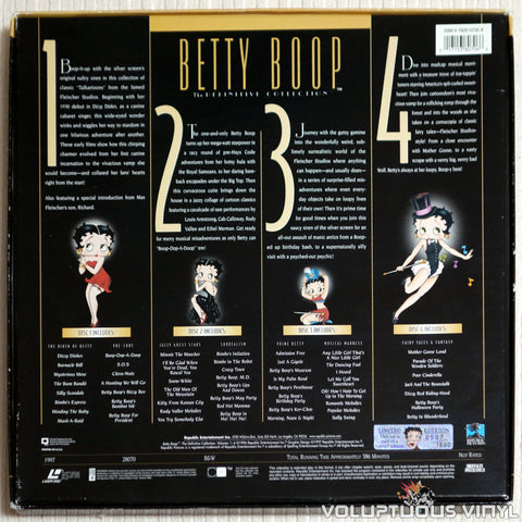 Betty Boop: The Definitive Collection #1: Limit.Ed Box Set - LaserDisc - Back Cover