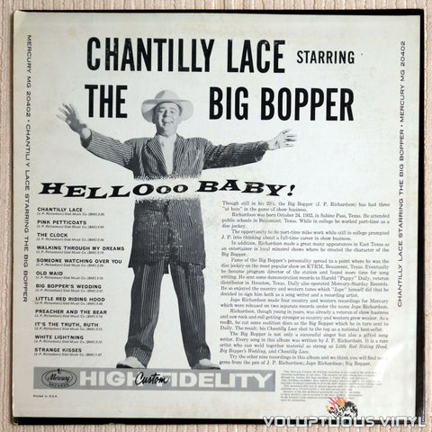 The Big Bopper ‎– Chantilly Lace - Vinyl Record - Back Cover