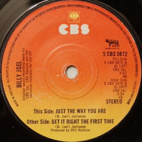 Billy Joel ‎– Just The Way You Are (1977) UK Press