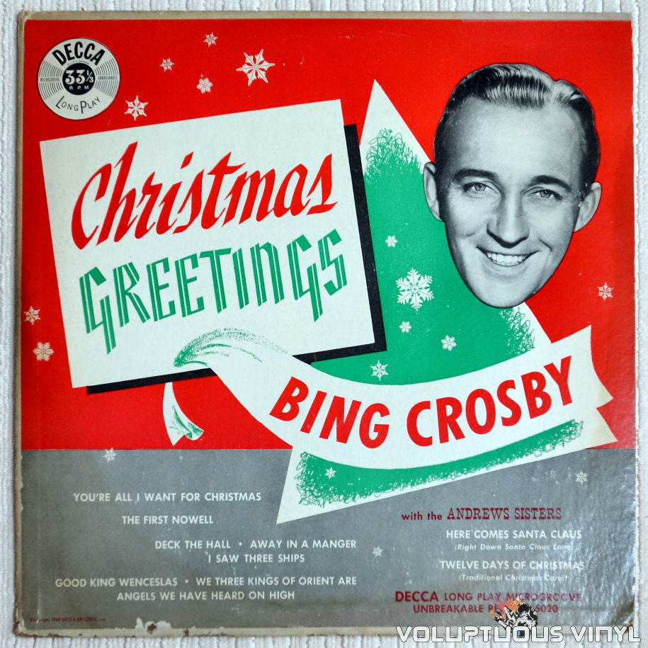 Bing Crosby ‎– Christmas Greetings - Vinyl Record - Front Cover