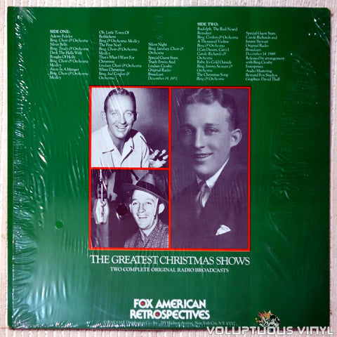 Bing Crosby ‎– The Greatest Christmas Shows vinyl record back cover