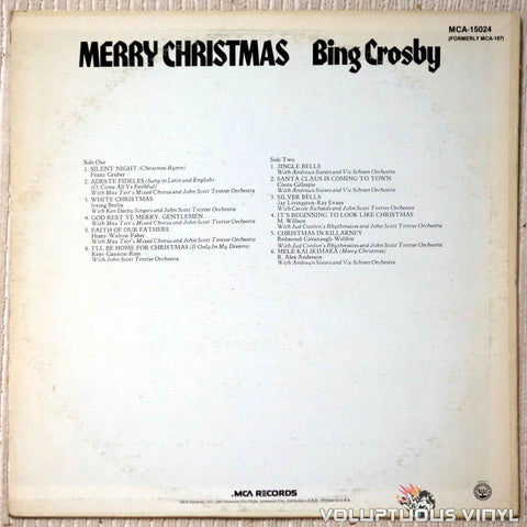 Bing Crosby ‎– Merry Christmas - Vinyl Record - Back Cover