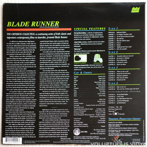 Blade Runner: Special Edition - LaserDisc - Back Cover
