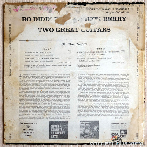 Bo Diddley / Chuck Berry ‎– Two Great Guitars - Vinyl Record - Back Cover