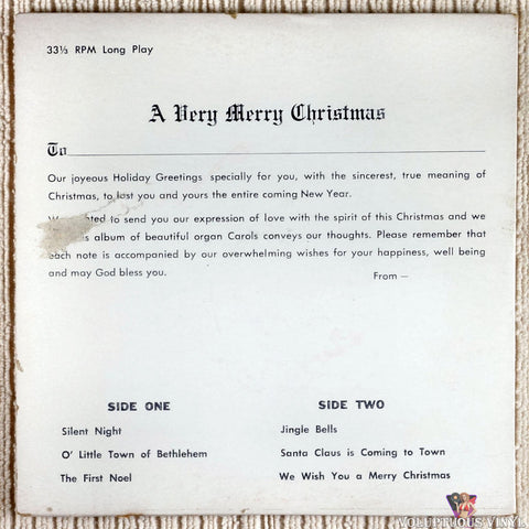 Bob Ward ‎– Merry Christmas 'Specially For You vinyl record back cover