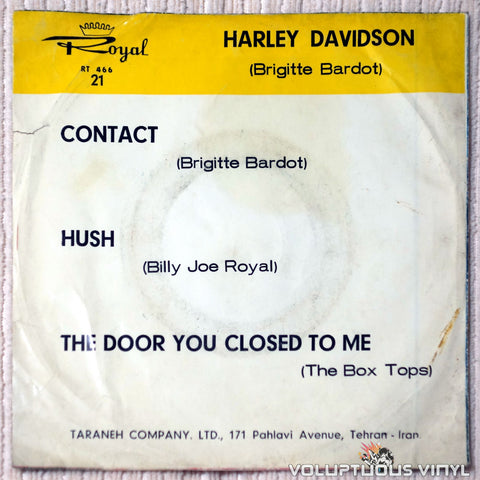 Brigitte Bardot, Billy Joe Royal, Box Tops ‎– Harley Davidson vinyl record back cover