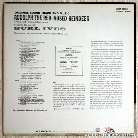 Burl Ives ‎– Original Sound Track And Music From Rudolph The Red Nosed Reindeer - Vinyl Record - Back Cover