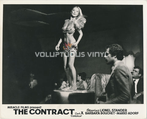 Caliber 9 [The Contract] (1972) - UK Lobby Card - Barbara Bouchet Bikini Table Top Dancing
