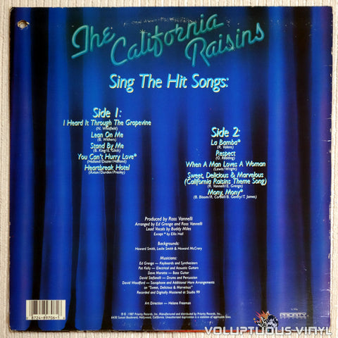 The California Raisins ‎– Sing The Hit Songs - Vinyl Record - Back Cover