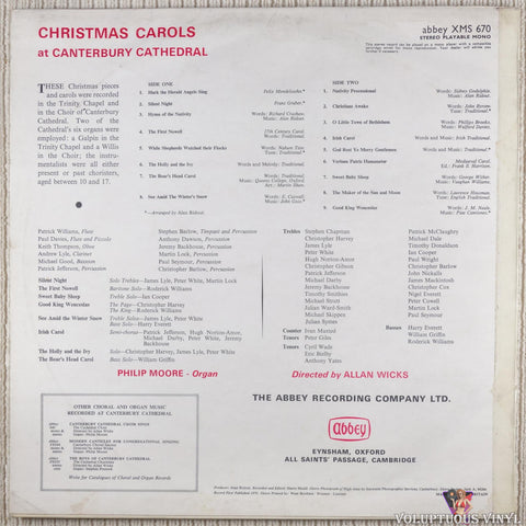 Canterbury Cathedral Choir ‎– Christmas Carols At Canterbury Cathedral vinyl record back cover