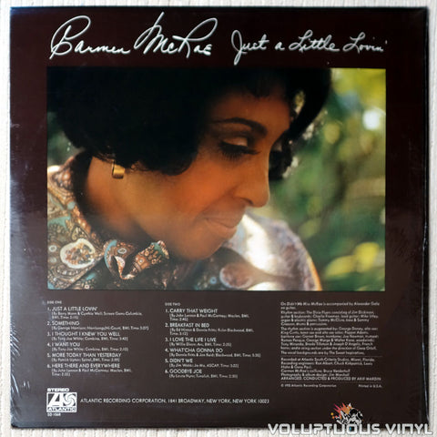 Carmen McRae ‎– Just A Little Lovin' - Vinyl Record - Back Cover