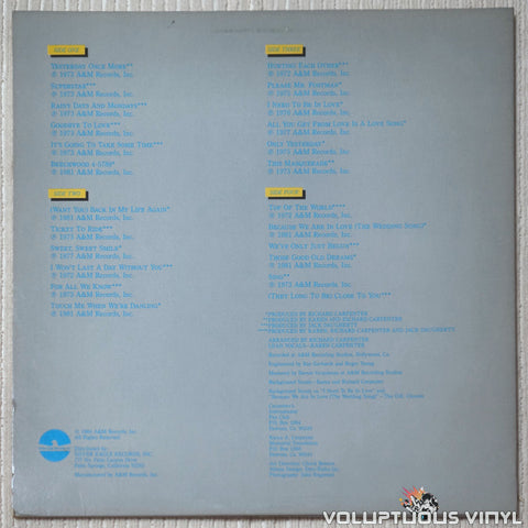 Carpenters ‎– Yesterday Once More - Vinyl Record - Back Cover