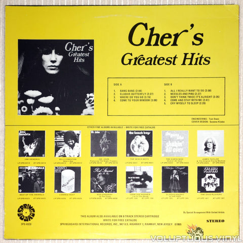 Cher ‎– Cher's Greatest Hits - Vinyl Record - Back Cover
