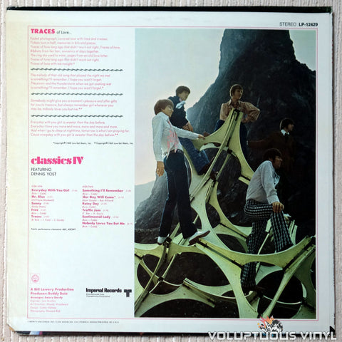 Classics IV Featuring Dennis Yost ‎– Traces vinyl record back cover