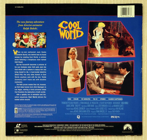 Cool World Brad Pitt Laserdisc Back Cover