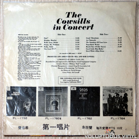 The Cowsills ‎– The Cowsills In Concert - Vinyl Record - Back Cover