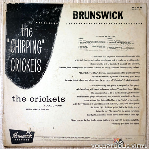 "The Crickets ‎– The ""Chirping"" Crickets - Vinyl Record - Back Cover"